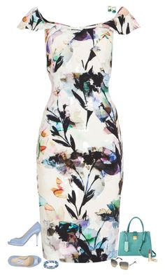 A fashion look from July 2016 featuring white dress, Jimmy Choo and blue purse. Browse and shop related looks. Floral Fashion, Diva Fashion, Work Fashion, Fashion Beauty, Couture Outfits, Fashion Outfits, White Cut Out Dress, Shoulder Cut, Shoulder Dress