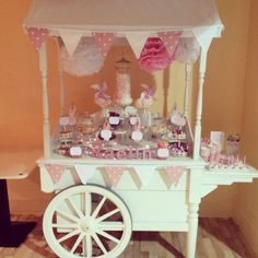 1st Birthday sweet cart complete with personalised wooden name and labels! By The Sweet Cart Co