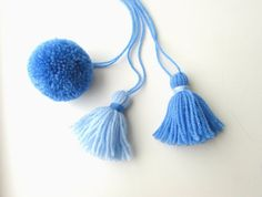 Blue handmade pom pom & tassel charms. 5 Blue tones to choose from available in my Etsy shop.