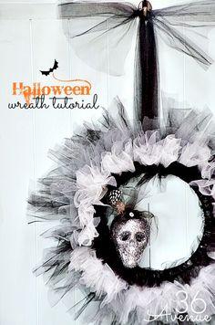 Halloween wreath tutorial via 36th Avenue
