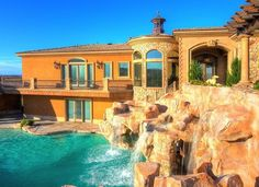 Stunning Mansions With Pools Stone Artistic Waterfall Design Ideas With Two Levels And Stone Material With Fountain Image
