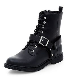 These look so #punk #rock. For a fraction of the price of Docs. Black Chunky Buckle Strap Boots