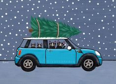 Teal Mini Cooper Christmas Cats Original Folk Art Painting by Ryan Conners (KilkennycatArt)