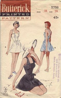 bb9f34bc63c9c Butterick 5758 - 1951 ca. 1951 The kind of swimsuit that looks equally  wonderful in and out of water.