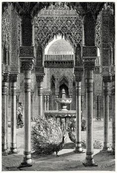 Patio of the Lions in the Alhambra Palace. Illustration by Gustave Doré for a French travel magazine. Gustave Dore, Honore Daumier, Russian Art, Wood Engraving, Old Antiques, French Artists, Print Pictures, Art World, Illustrations