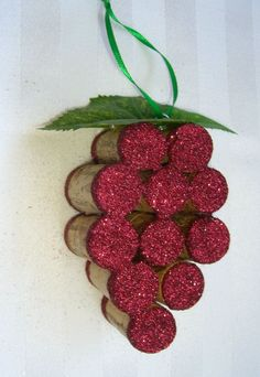 This handmade ornament is made out of 11 full size recycled wine corks and is embellished with just the right amount of wine colored glitter, green - Crafting For Holidays