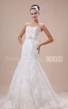 Sweetheart Appliques Lace Wedding Dress With Beaded and Bowed Sash. #lace #weddings #DorisWedding.com