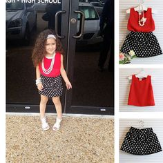 #toddler #baby fashion #toddlersuits Buyers' show! Girls Spot Chiffon Suits. Only $18.80, for girls from 1 to 7 years old!