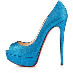Christian Louboutin Lady Peep (3.665 BRL) ❤ liked on Polyvore featuring shoes, pumps, heels, louboutins, christian louboutin, bleu saphir, view all, christian louboutin shoes, miniature shoes and blue pumps