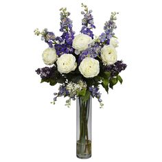 """Rose Delphinium and Lilac Silk Flower Arrangement - Celebrate the warm weather with this incredible arrangement of """"springtime color"""" from Nearly Natural's Floral Collection. We've selected some of our finest floral offerings (such as soft delphiniums and delicate lilacs, and brought them together in a beautiful 18"""" glass vase (complete with faux water) . It's a literal burst of sunshine, and makes the perfect finishing touch for any room. Number of Trunks: NA Number of Flowers: NA Number of"""