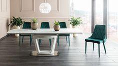 Set masa din sticla si MDF Claudio II + 4 scaune tapitate Trix Velvet Green #homedecor #homedesign #natureinspiration #interiordesign Aspen, Dining Bench, Minimalism, Velvet, Interior Design, Furniture, Home Decor, Fiber, Nest Design