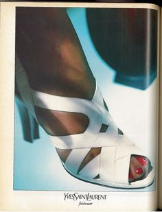 1986 Yves Saint Laurent Shoe Ad with White Strappy Sandal - Wall Art - Home Decor - Shoes - Style - Retro Vintage Fashion Advertising 80s Shoes, Shoes Ads, Vintage Ysl, Retro Vintage, Vintage Fashion, White Strappy Sandals, High End Shoes, Fashion Advertising, Vogue Magazine