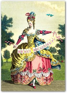 Bright colored Marie Antoinette a print rather than a painting, one of the rare times she was treated well in the press