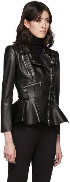 Peplum Leather Jacket, Alexander Mcqueen Clothing, Indian Bridal Outfits, Fall Outfits, Jackets For Women, Black Leather, Style Inspiration, Fall Clothes, Pattern Making