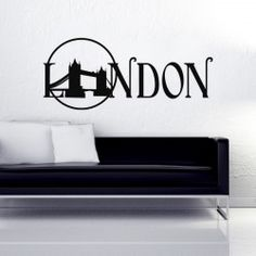 Tower Bridge London Wall Decal  Buy this unique London bridge wall sticker available in different sizes and colors. The artistic alphabets of LONDON word add to the beauty of the decor.  SMALL :-- 24 X 10 -- IN INCHES MEDIUM :-- 48 X 20 -- IN INCHES LARGE :-- 57 X 24 -- IN INCHES