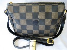 Authentic FENDI Vintage Leather Cross Body Shoulder Bag Brown Black Checker Print by CLASSYBAG on Etsy