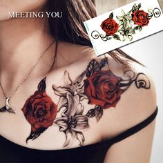 1pc have Two roses and lilies tatoo on the chest woman's sexy Temporary Tattoo Sticker Flower/Flowers tattoos