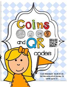 QR Codes Coin Practice Core Curriculum - Money 2nd Grade Classroom, 1st Grade Math, Future Classroom, Kindergarten Math, Second Grade, Teacher Observation, Activity Bags, Core Curriculum, Math Strategies