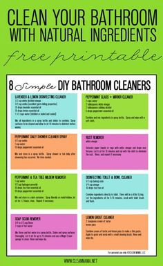 Just say no to chemical based cleaners! Try these hard working, non-toxic DIY cleaners in your bathroom instead. FREE printable included! 8 Simple DIY Bathroom Cleaners - Free Printable - Clean Mama