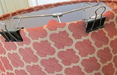 Updating Lamps with Drum Shades. How to re-cover lampshades with Fabric and hot glue- good step-by-step tutorial.