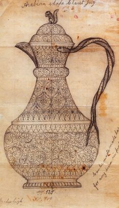 """""""Arabian"""" Indian teapot sketches (Workshop drawings of Oomersee Mawjee & Sons, Kutch, link at http://venetianred.net/2010/02/09/first-impressions-patterns-designs-sketches-and-sample-books/)"""