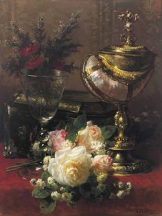 View A Bouquet of Roses and other Flowers in a Glass Goblet with a Chinese Lacquer Box and a Nautilus Cup on a Red Velvet draped Table by Jean-Baptiste Robie on artnet. Browse upcoming and past auction lots by Jean-Baptiste Robie. Seashell Painting, Most Famous Paintings, Cup Art, Jean Baptiste, Flower Aesthetic, Glass Wall Art, Painting Still Life, Oil Painting Reproductions, Nautilus