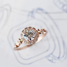 rose gold and diamond engagement ring in a vintage style from Jolie for J ALBRECHT DESIGNS