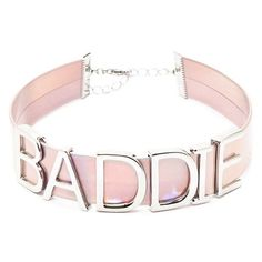 Forever21 Baddie Holographic Choker (118.620 IDR) ❤ liked on Polyvore featuring jewelry, necklaces, initial jewelry, choker necklace, letter necklaces, beaded choker and chain choker