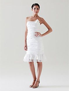 Sheath/Column+Strapless+Knee-length+Taffeta+Wedding+Dress++–+USD+$+129.99