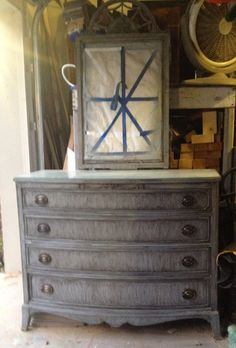 Old Antique Chest Of Drawers With Mirror. Refinished. Grey With A Dark Grey  Glaze