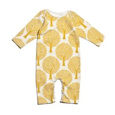 Organic Long-Sleeve Romper - Trees Yellow