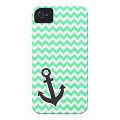 Nautical Anchor; Green Chevron iPhone 4 Case