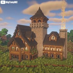 A giant 1.17 medieval mansion! Hit the link for a tutorial! Casa Medieval Minecraft, Minecraft House Plans, Minecraft Cottage, Minecraft House Tutorials, Cute Minecraft Houses, Minecraft Room, Minecraft Crafts, Minecraft Mansion Tutorial, Video Minecraft