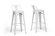 Baxton Studio French Industrial Modern Bar Stool in White with Back Support(Set of 2) | Interior Express