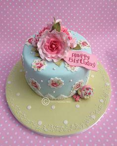Photo: A Cath Kidston inspired birthday cake for Anne. Handmade roses ...