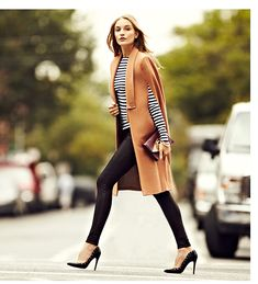 stripes +Sleeveless camel coat