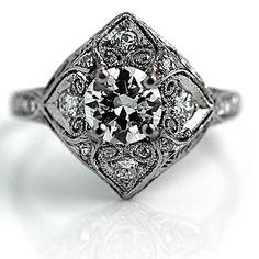 Art Deco Platinum Old Europeam Cut Diamond Engagement Ring Circa Early 1900's #weddings