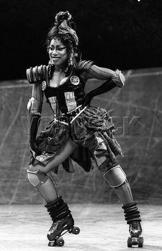 Photo from the London production of Starlight Express, circa 1985. Pictured is Shezwae Powell as Belle.