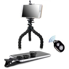 """Peyou iPhone Camera Lens Kit (Extra Clip, Fish eye, Wide Angle and Macro combo) - BONUS Octopus Tripod, Phone Holder and Bluetooth Remote Shutter Works with iPhone, Samsung Phone etc. GREAT PHOTOS START with HIGH-QUALITY LENSES! The lenses in the Universal Lens Kit are perfect for the iPhone, iPad, Samsung Galaxy devices, Motorola, HTC - you name it. Enjoy jaw-dropping """"professional quality"""" photos - whether you're a hobbyist, pro, or just having fun with friends!. EASILY CLIPS ONTO YOUR..."""