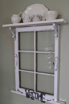 This site has many upcycling ideas for the home. I like the idea of adding a shelf across the top of an old window frame. Idea for Pilgrim Firs window frame? Window Frame Decor, Old Window Frames, Window Art, Windows Decor, Porch Windows, Decorating Old Windows, Old Window Ideas, Wooden Windows, Window Photo Frame