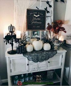 Halloween is a very special holiday. You can have an unusual day with scary decorations. In addition to the living room, the perfect place to design with the taste of Halloween is your bar. The…Read Spooky Halloween, Halloween Entryway, Halloween Living Room, Farmhouse Halloween, Halloween Home Decor, Halloween Season, Diy Halloween Decorations, Holidays Halloween, Halloween Crafts