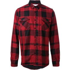Sacai checked shirt (€450) ❤ liked on Polyvore featuring men's fashion, men's clothing, men's shirts, men's casual shirts, men, red, shirts, mens rayon shirts, mens red shirt and men's curved hem t shirt