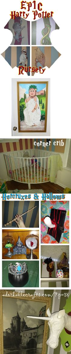 The most EPIC Harry Potter Nursery!!   adorkablecrafts.com I am stuck on the corner crib... how cool is that