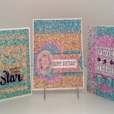 Glitter FX - Scrapbook.com - Get the look of glitter without the mess! Make cards with Ella and Viv Glitter FX papers!