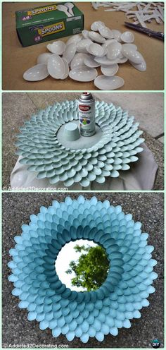 DIY Plastic Spoon Mirror Frame Instructions-DIY Decorative Mirror Frame Ideas and Projects