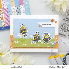 **NEW Bizzy Bees Clear Stamps | Whimsy Stamps Bee Outline, Bee Safe, Bee Cards, Whimsy Stamps, Door Kits, Bee Design, Friendship Cards, Stamp Collecting, Clear Stamps