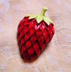 Vintage Red Enamel Strawberry Brooch Signed ART