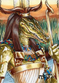 Sobek Sketch Card - Mel Uran Egyptian Mythology – Sobek was the deification of crocodiles, as crocodiles were deeply feared in the nation so dependent on the Nile River. Egyptians who worked or travelled on the Nile hoped that if they prayed to Sobek, the crocodile/Nile god, he would protect them from being attacked by crocodiles.