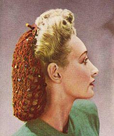 INSTANT DOWNLOAD-1940s wartime vintage crochet pattern for 2 snoods-pdf email delivery
