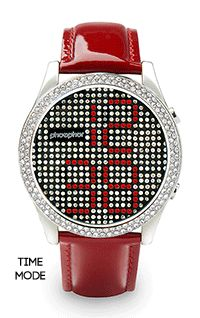 Elegant red leather #Phosphor Appear Crystal #watch